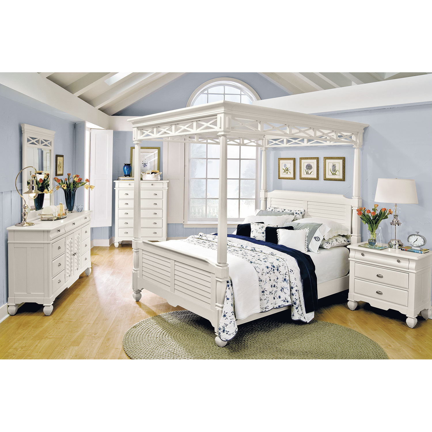 Plantation Cove 6 Piece King Canopy Bedroom Set White By American Signature