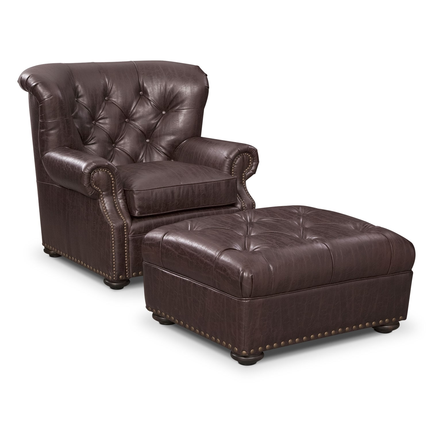 Living Room Furniture - Cabot Chair and Ottoman