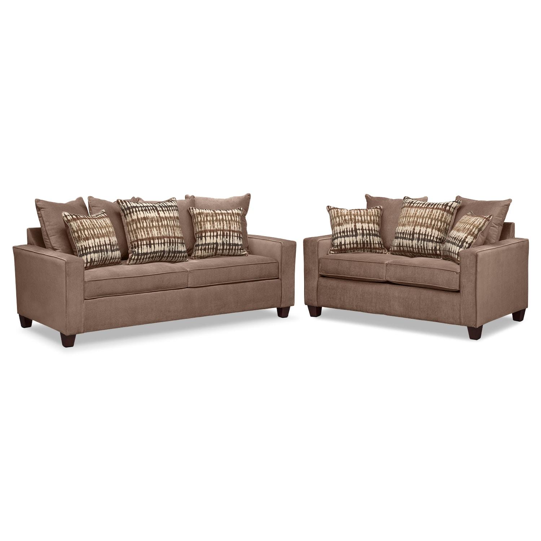 Living Room Furniture - Bryden Queen Sleeper Sofa and Loveseat Set