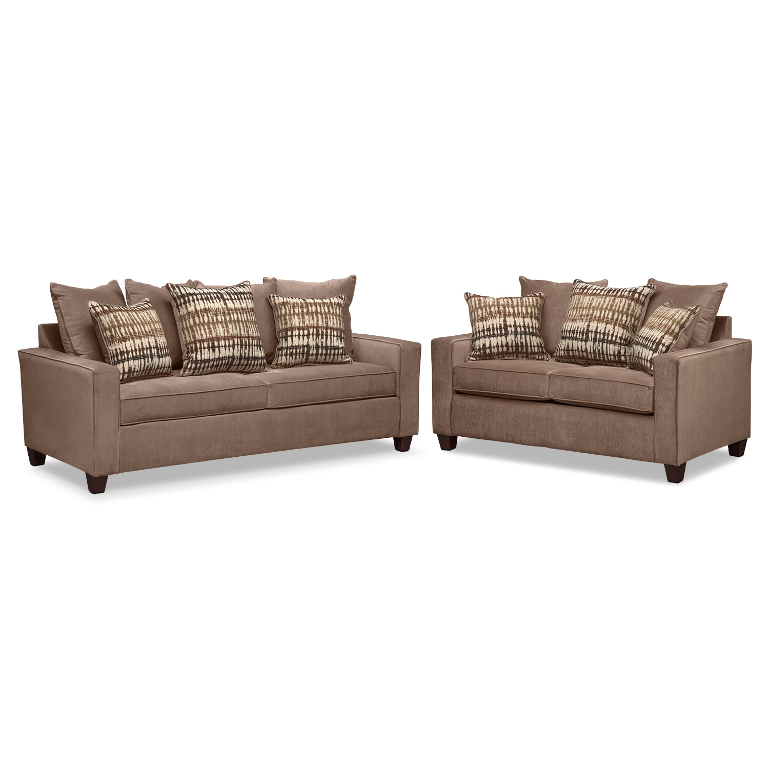 Living Room Furniture - Bryden Queen Memory Foam Sleeper Sofa and Loveseat Set - Chocolate
