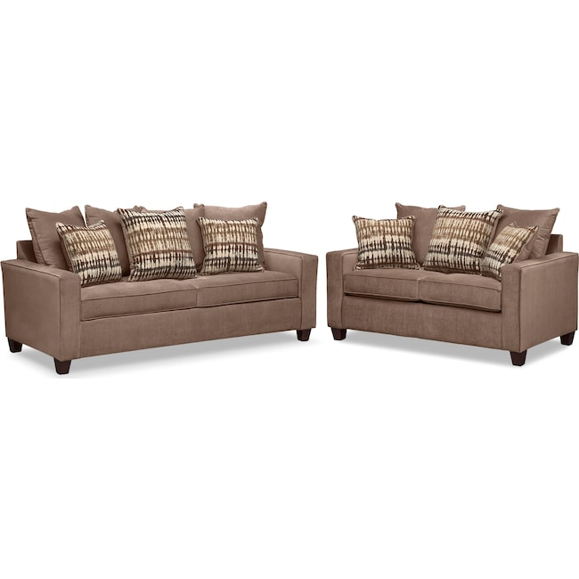 Living Room Furniture - Bryden Queen Innerspring Sleeper Sofa and Loveseat Set - Chocolate