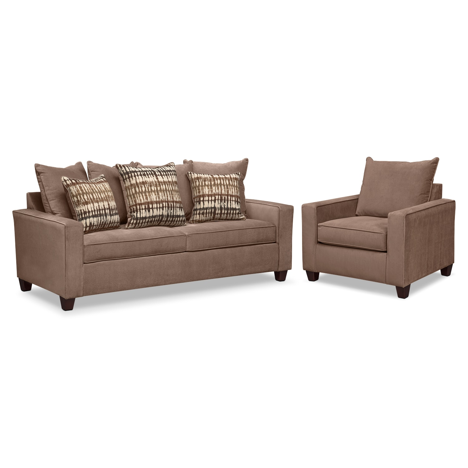 Living Room Furniture - Bryden Sofa and Chair Set - Chocolate