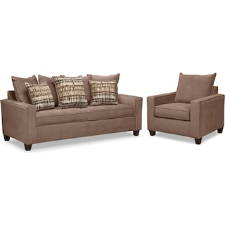 Bryden Queen Innerspring Sleeper Sofa and Chair Set - Chocolate