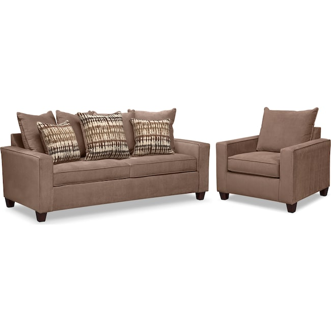 Living Room Furniture - Bryden Queen Innerspring Sleeper Sofa and Chair Set - Chocolate