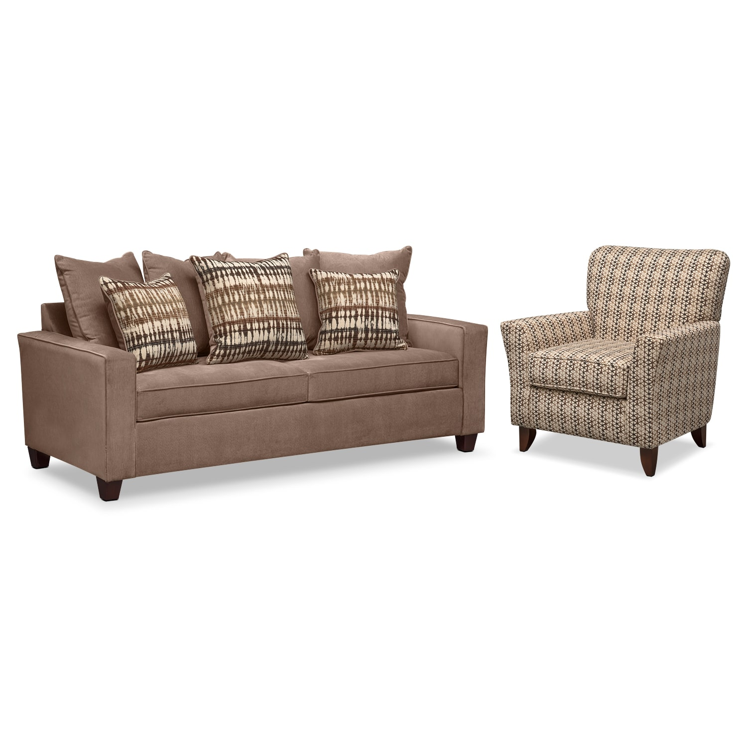Bryden Queen Memory Foam Sleeper Sofa and Accent Chair Set - Chocolate