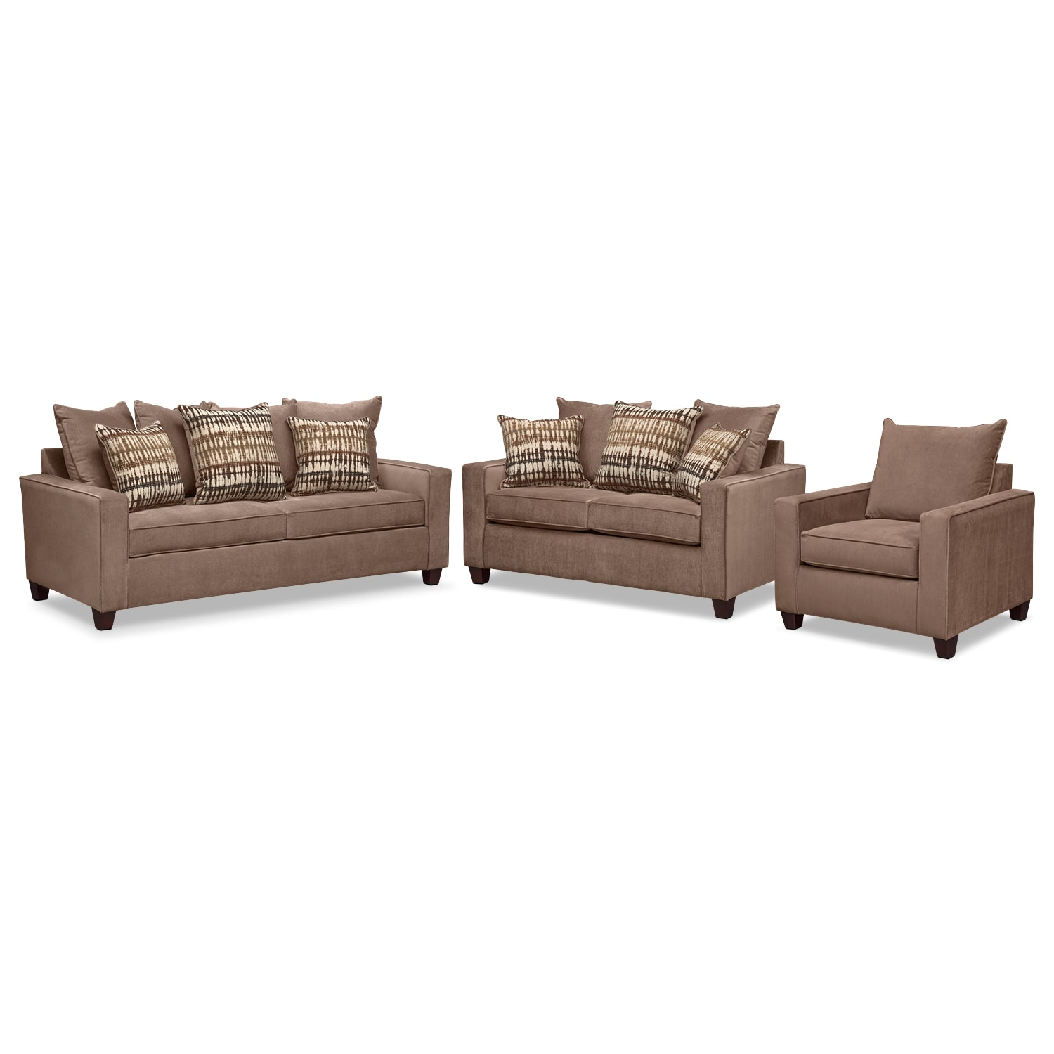 Living Room Furniture - Bryden Queen Innerspring Sleeper Sofa, Loveseat and Chair Set - Chocolate