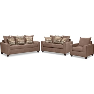Bryden Sofa, Loveseat and Chair Set - Chocolate