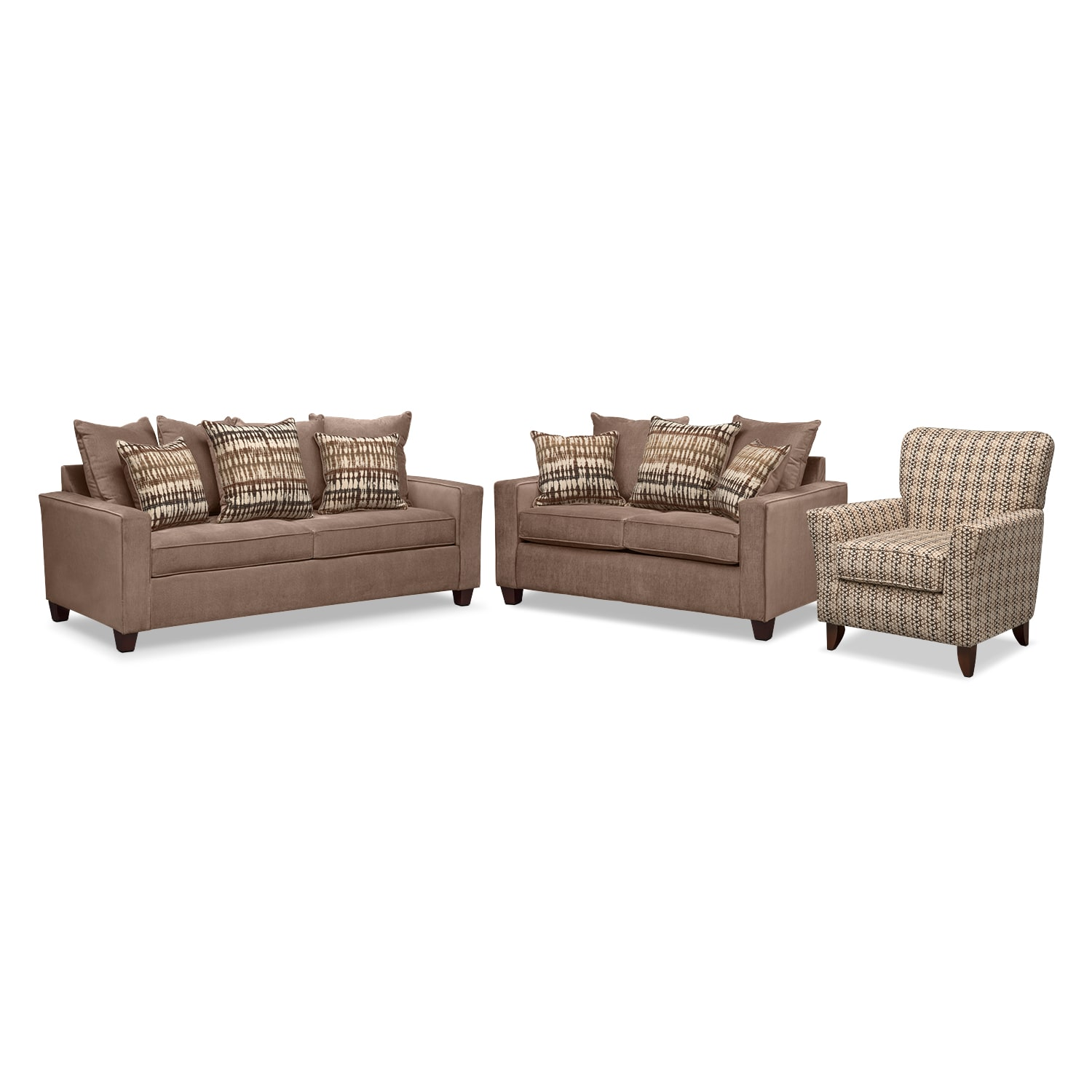 Living Room Furniture - Bryden Queen Innerspring Sleeper Sofa, Loveseat and Accent Chair Set - Chocolate