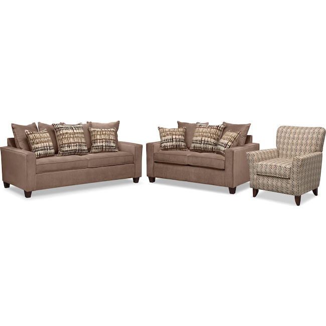 Living Room Furniture - Bryden Memory Foam Sleeper Sofa, Loveseat and Accent Chair Set - Chocolate