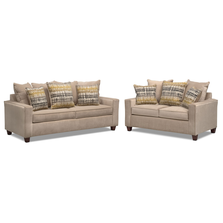 Living Room Furniture - Bryden Queen Memory Foam Sleeper Sofa and Loveseat Set - Beige