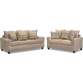Bryden Queen Memory Foam Sleeper Sofa and Loveseat Set - Beige