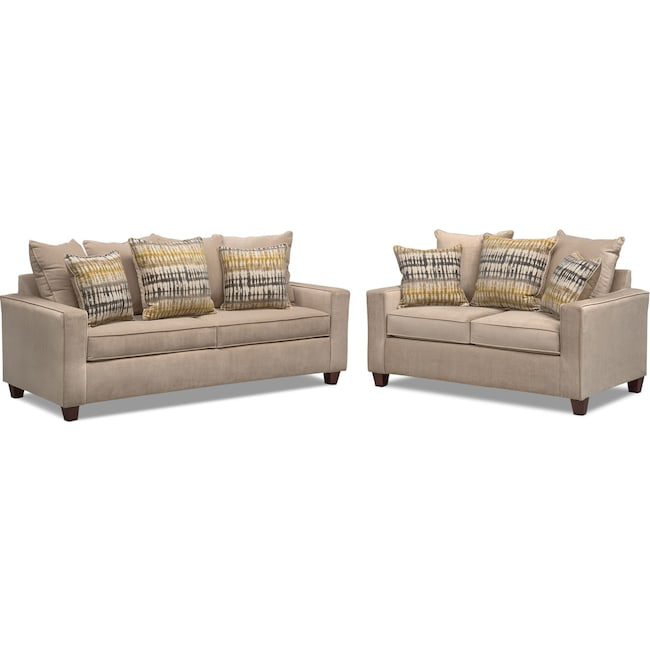 Living Room Furniture - Bryden Sofa and Loveseat Set - Beige