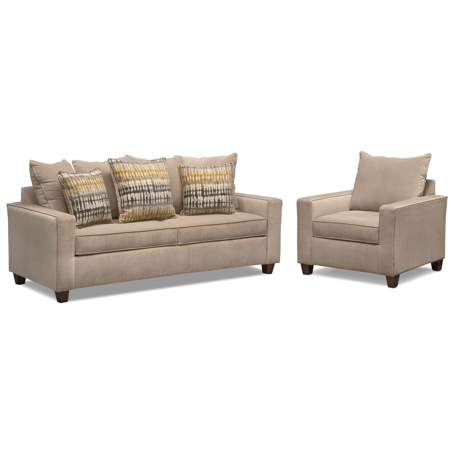 Living Room Furniture - Bryden Queen Innerspring Sleeper Sofa and Chair Set - Beige