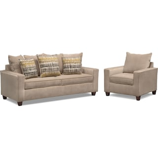 Bryden Queen Memory Foam Sleeper Sofa and Chair Set - Beige