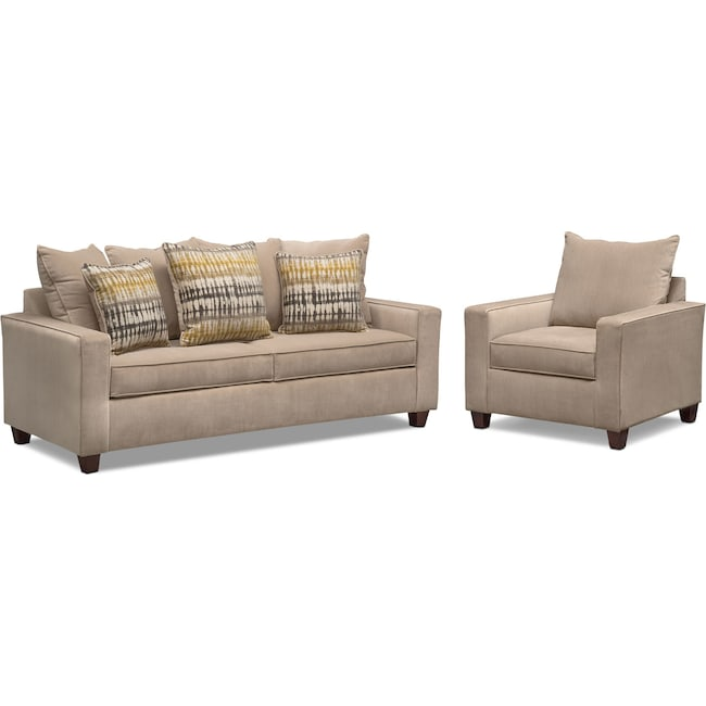 Living Room Furniture - Bryden Queen Memory Foam Sleeper Sofa and Chair Set - Beige