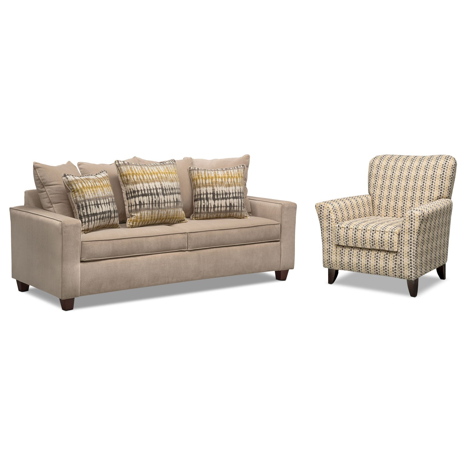 Living Room Furniture - Bryden Sofa and Accent Chair Set - Beige