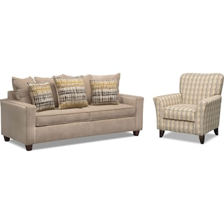Bryden Queen Memory Foam Sleeper Sofa and Accent Chair Set - Beige