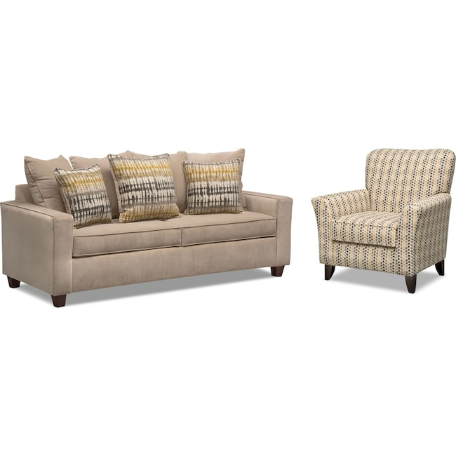 Living Room Furniture - Bryden Queen Memory Foam Sleeper Sofa and Accent Chair Set