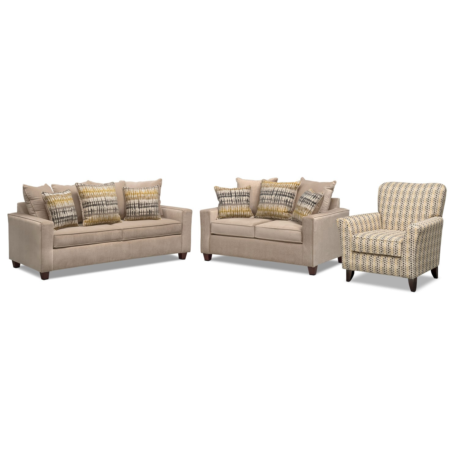 queen memory foam sleeper sofa loveseat and accent chair set beige