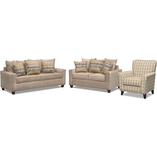 Bryden Sofa, Loveseat and Accent Chair Set - Beige