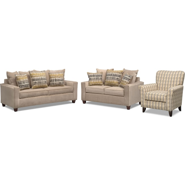 Living Room Furniture - Bryden Queen Memory Foam Sleeper Sofa, Loveseat and Accent Chair Set - Beige