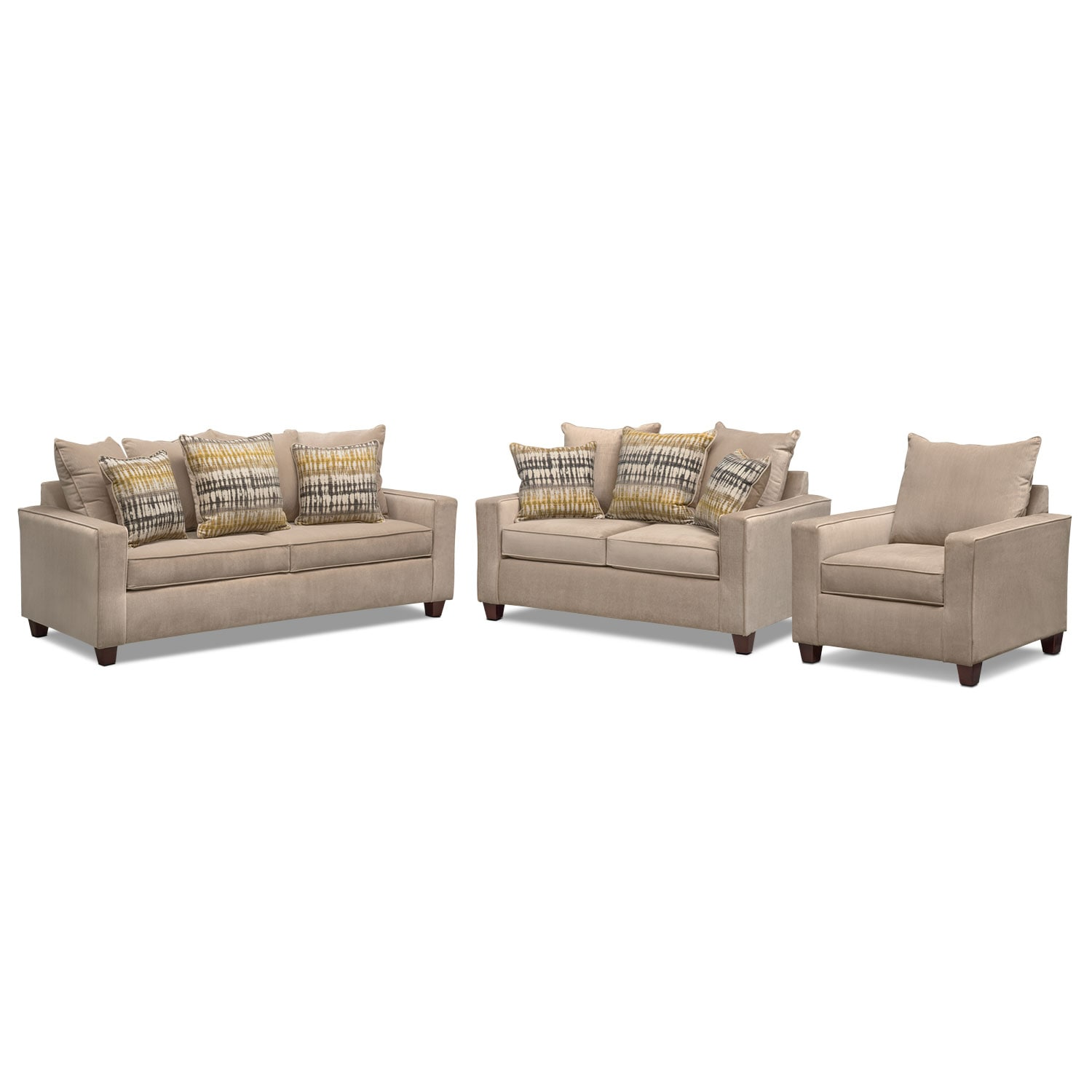 Bryden Queen Memory Foam Sleeper Sofa, Loveseat and Chair Set - Beige