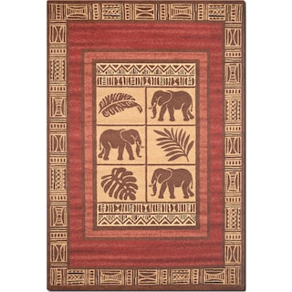 Ava 5' x 8' Area Rug - Red and Beige