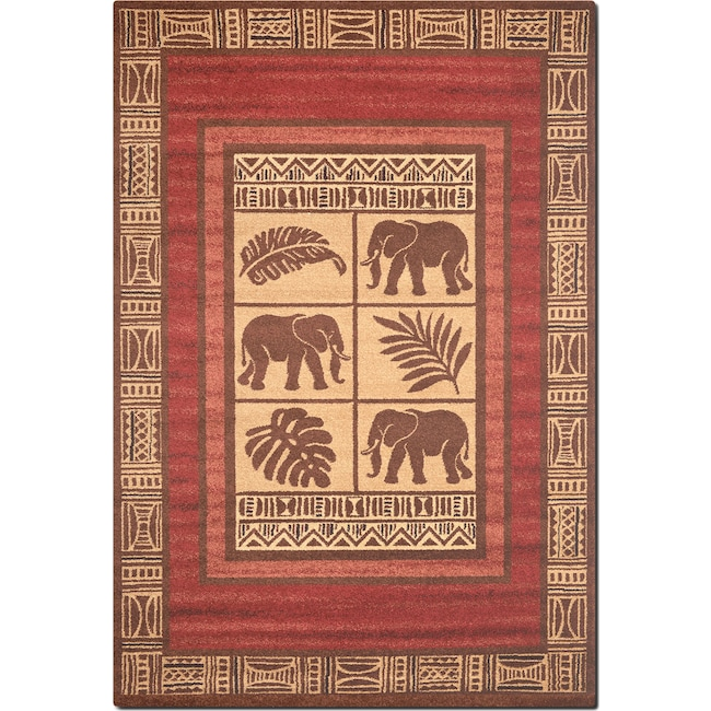 Rugs - Ava 5' x 8' Area Rug - Red and Beige