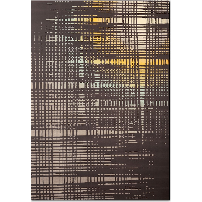 Rugs - Broadway 5' x 8' Area Rug - Yellow, Teal and Charcoal