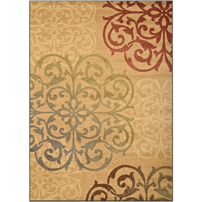 Rugs - Ava 5' x 8' Area Rug - Beige and Green