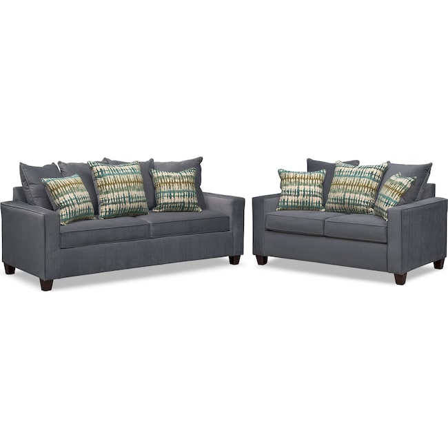 Living Room Furniture - Bryden Queen Innerspring Sleeper Sofa and Loveseat Set - Slate