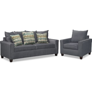 Bryden Sofa and Chair Set - Slate