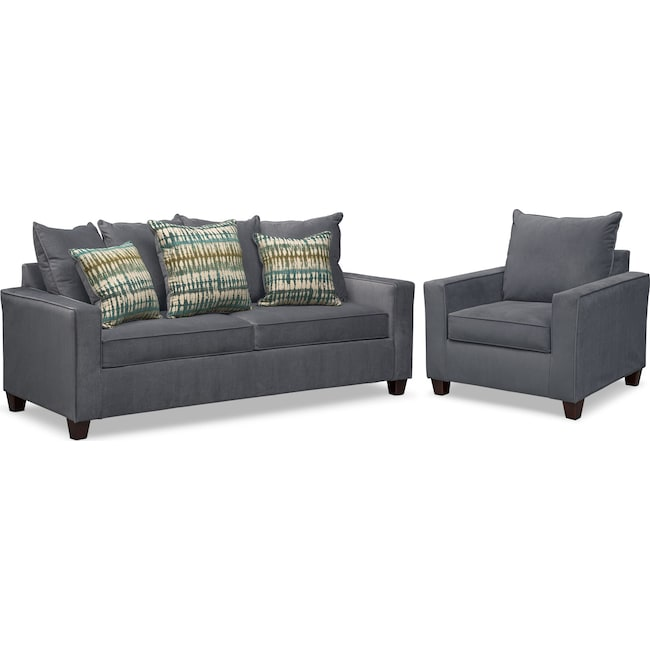 Living Room Furniture - Bryden Queen Memory Foam Sleeper Sofa and Chair Set - Slate