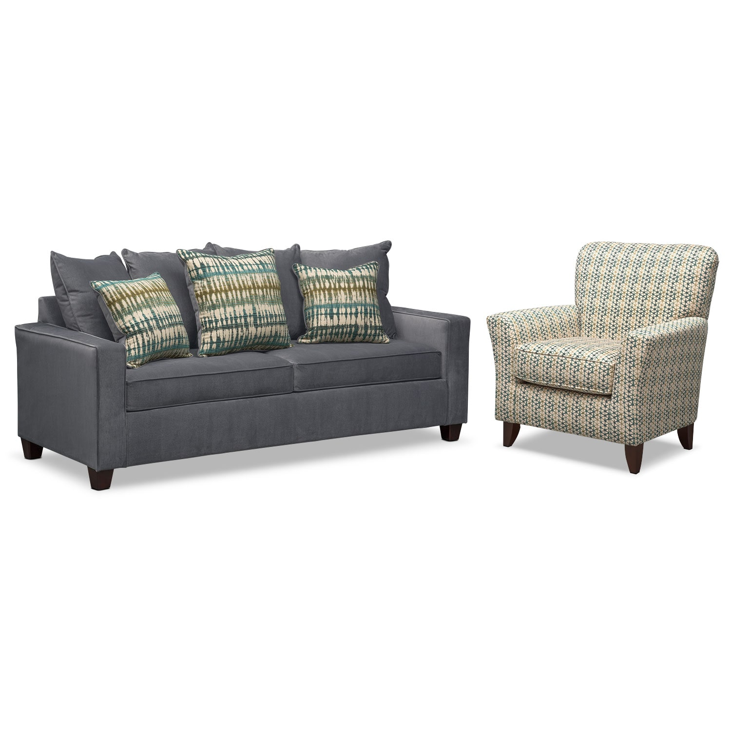 Bryden Queen Innerspring Sleeper Sofa and Accent Chair Set - Slate