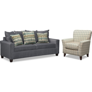 Bryden Sofa and Accent Chair Set - Slate