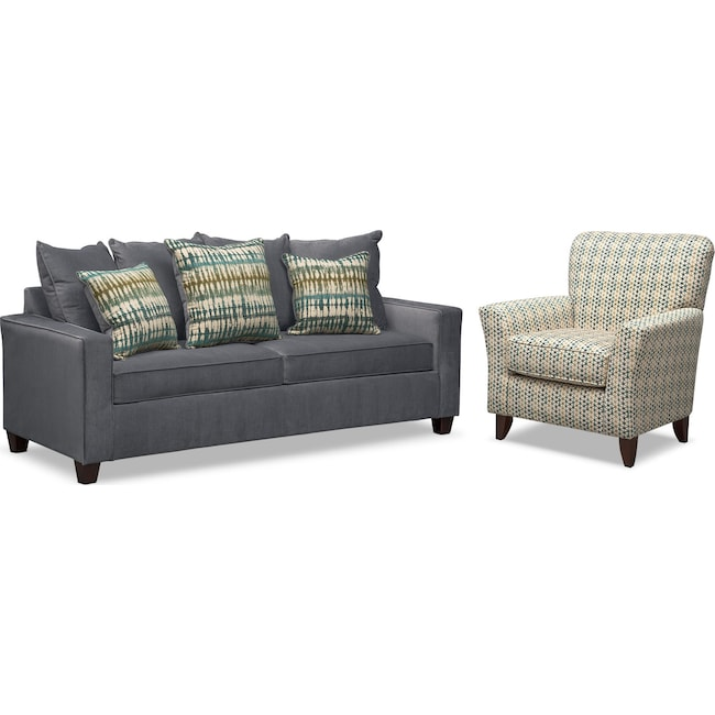 Living Room Furniture - Bryden Queen Innerspring Sleeper Sofa and Accent Chair Set - Slate