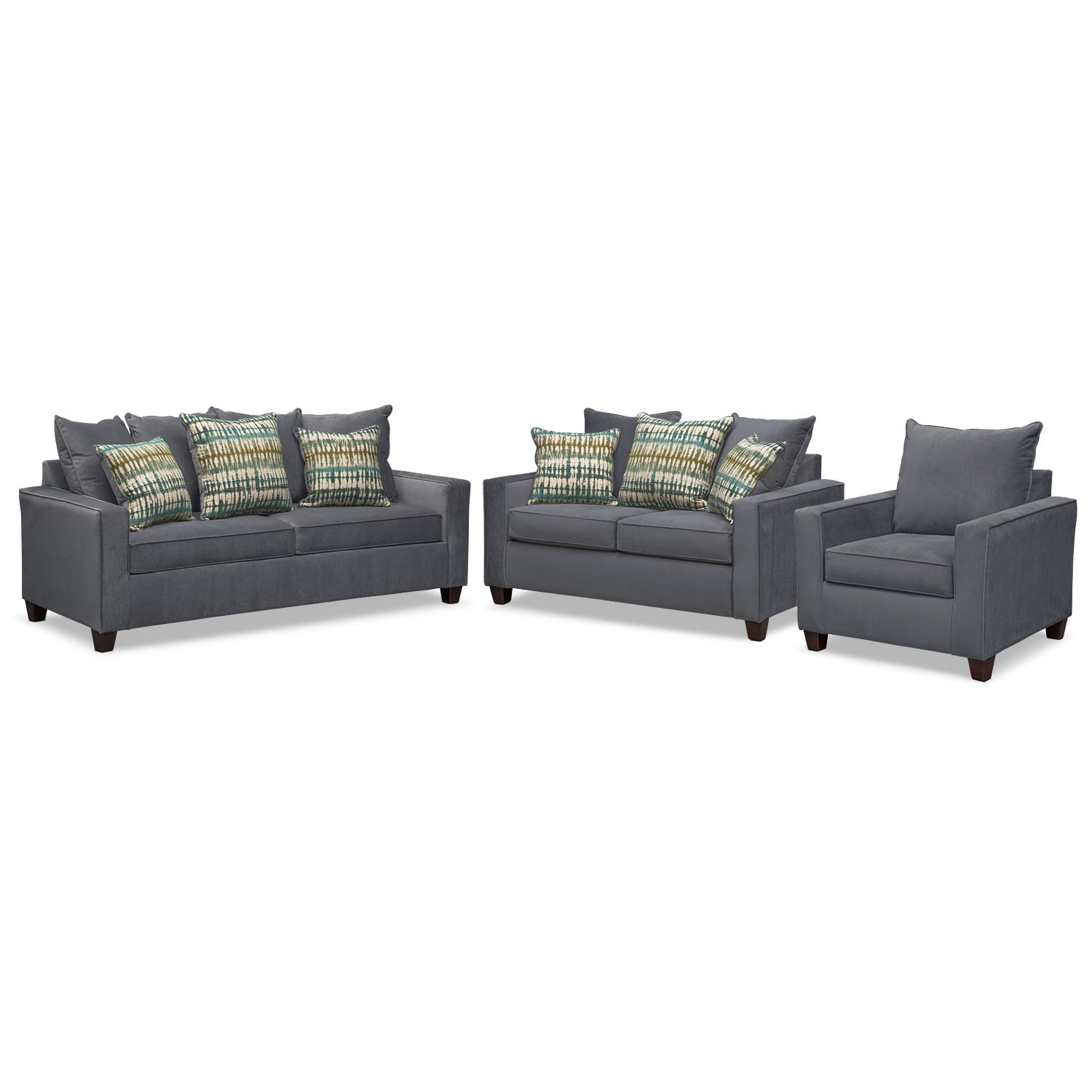 Living Room Furniture - Bryden Sofa, Loveseat and Chair Set - Slate