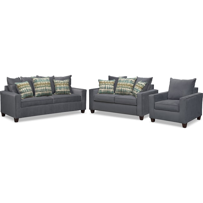 Living Room Furniture - Bryden Queen Memory Foam Sleeper Sofa, Loveseat and Chair Set - Slate