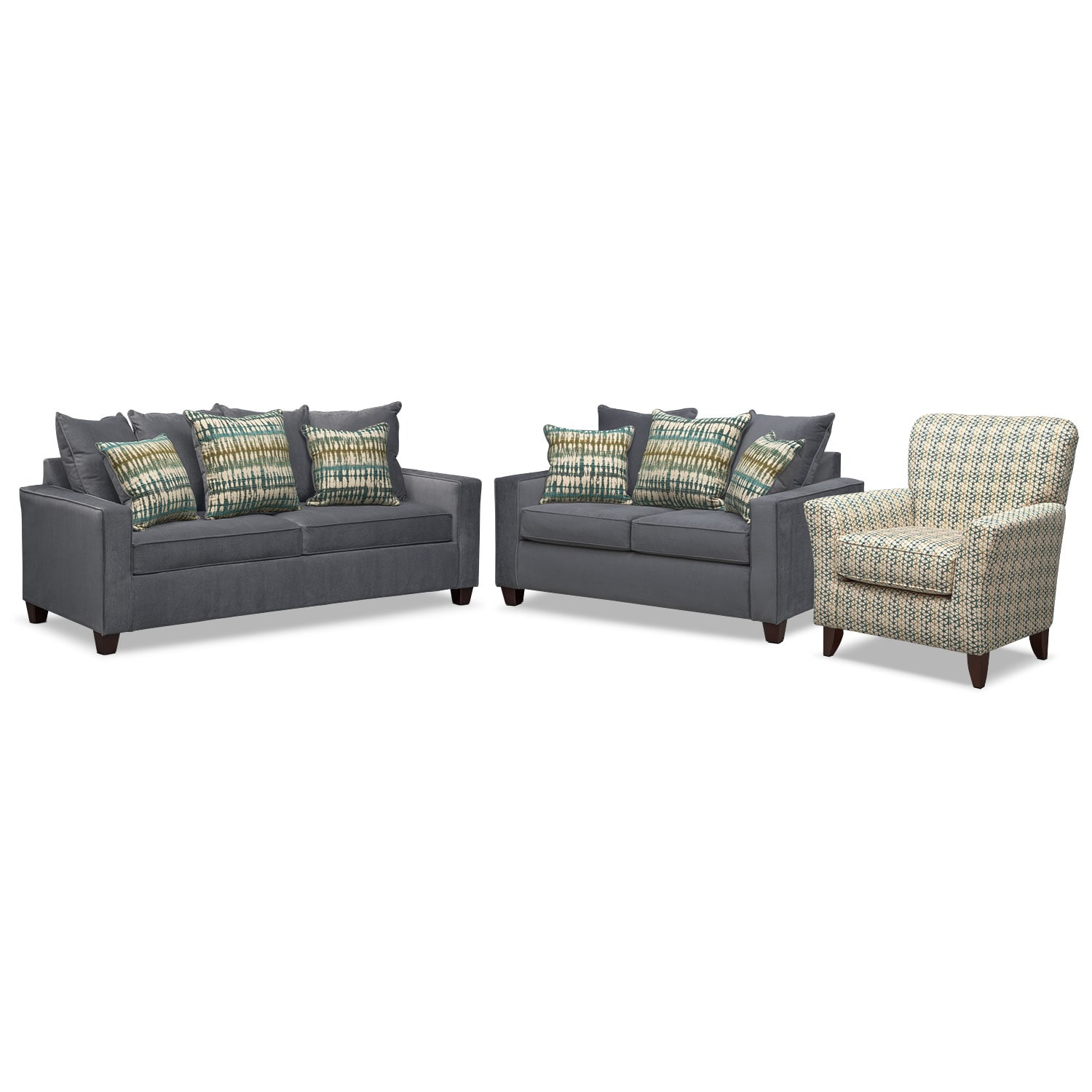 Living Room Furniture - Bryden Sofa, Loveseat and Accent Chair Set - Slate