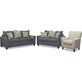Bryden Sofa, Loveseat and Accent Chair Set - Slate