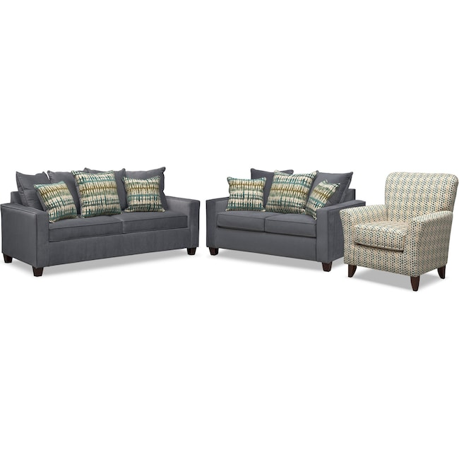 Living Room Furniture Bryden Queen Memory Foam Sleeper Sofa Loveseat And Accent Chair Set