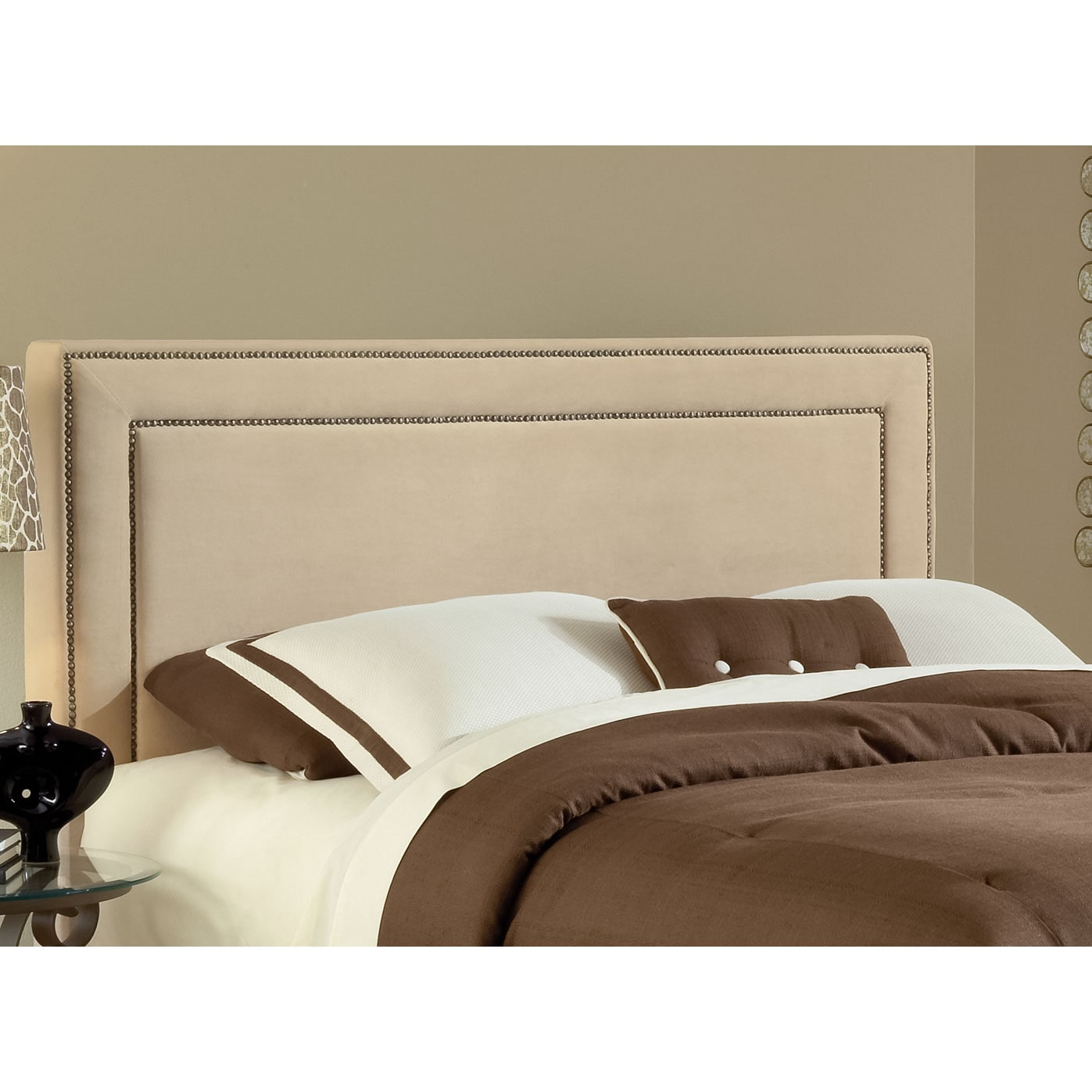 Amber queen upholstered headboard beige value city furniture and mattresses for Bedroom sets with upholstered headboards