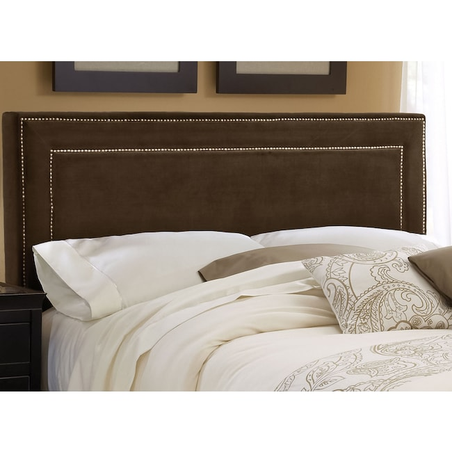 Bedroom Furniture - Amber Queen Upholstered Headboard - Chocolate