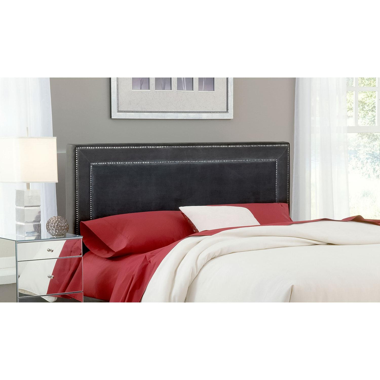 Bedroom Furniture - Amber Queen Upholstered Headboard - Pewter