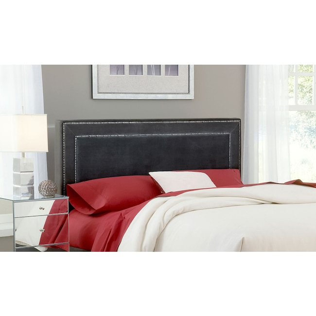 Bedroom Furniture - Amber Queen Upholstered Headboard - Pewter