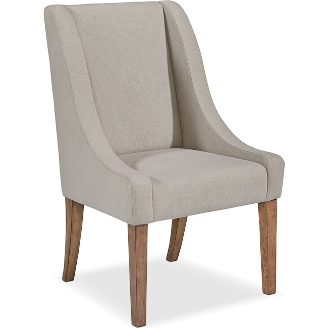 Dining Room Furniture - French Demi-Wing Upholstered Side Chair - Flannel Gray