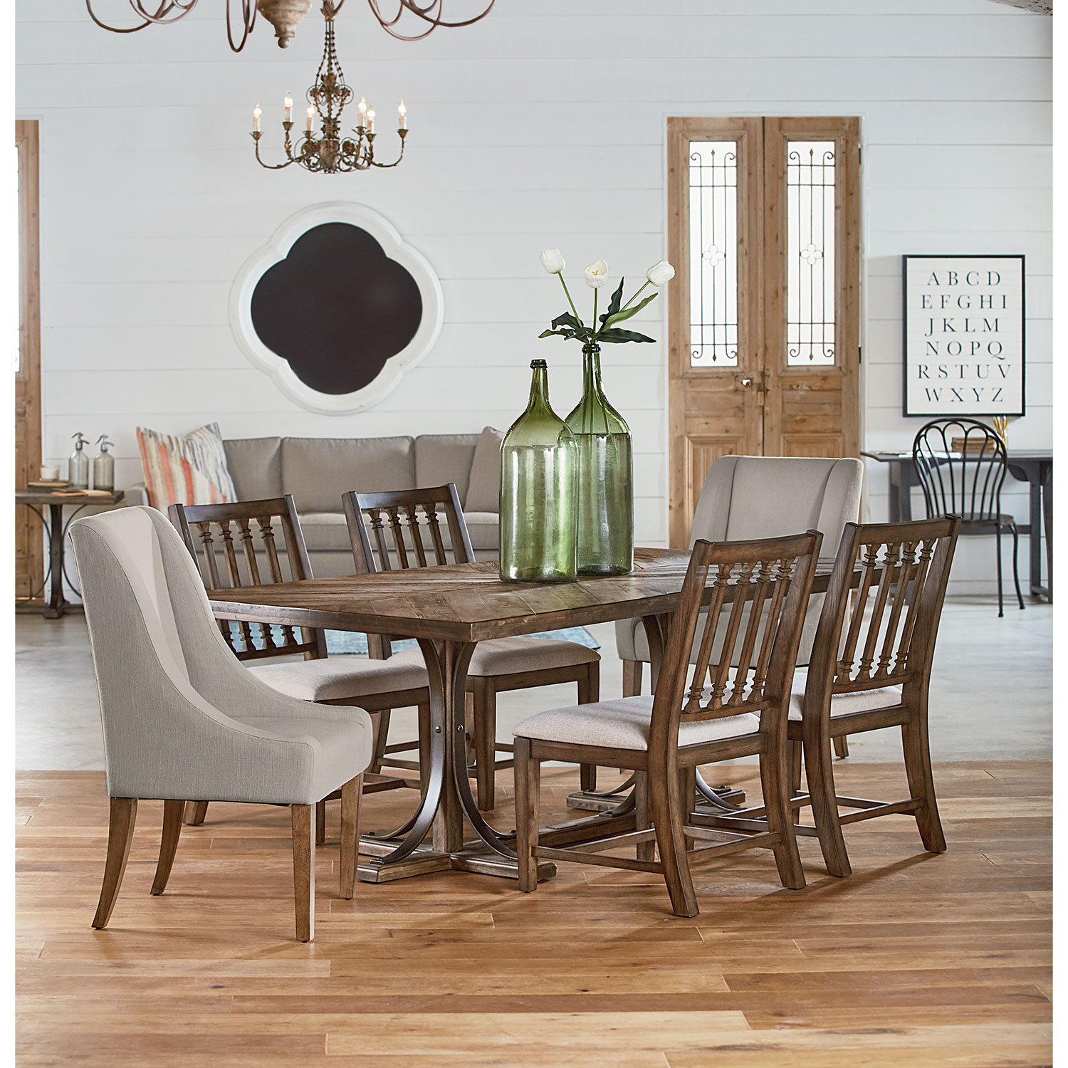 Traditional Iron Trestle Table, Two Demi-Wing Upholstered Chairs, and Four Revival Side Chairs