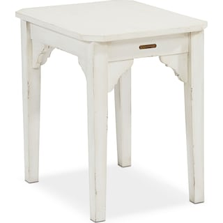 Farmhouse Bracket End Table - White