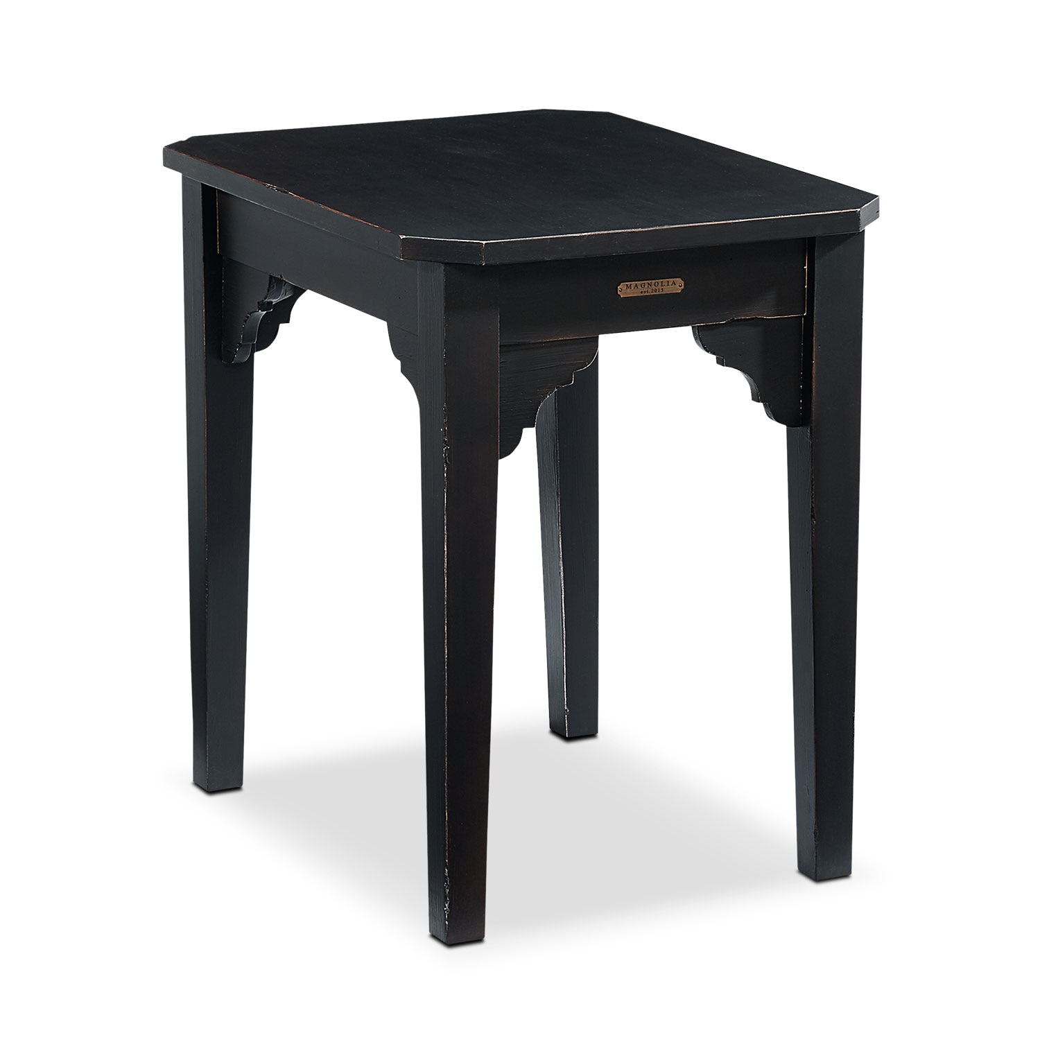 Farmhouse Bracket End Table - Black