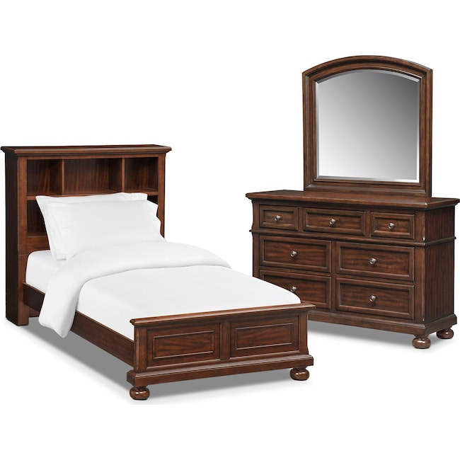 Bedroom Furniture - Hanover Youth 5-Piece Twin Bookcase Bedroom Set - Cherry